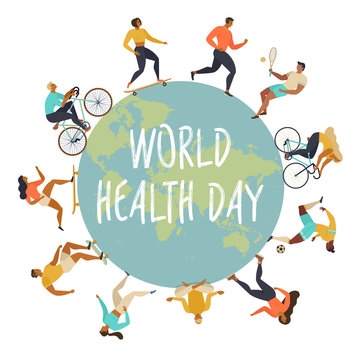 World Health Day 7th april. Active young people. Healthy lifestyle. Roller skates, running, bicycle, run, walk, yoga. Design element colorful. Vector illustrations.