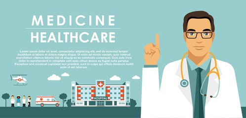 Medicine concept with doctor in flat style isolated on blue background. Practitioner young islam doctor man, hospital building, ambulance car and helicopter. Medical staff.