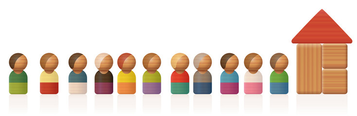 Queue or waiting line with toy figures and building blocks - isolated vector illustration on white background.
