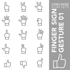 High quality thin line icons of finger sign and hand gesture. Linelinge are the best pictogram pack unique linear design for all dimensions and devices. Stroke vector logo symbol and website conte