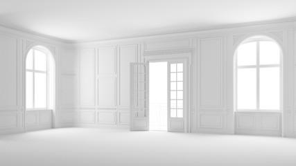 Salon oder Saal in weiß mit Stuck und Balkon