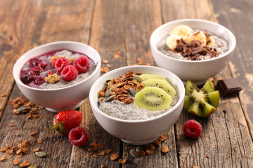 bowl of chia pudding with fruits