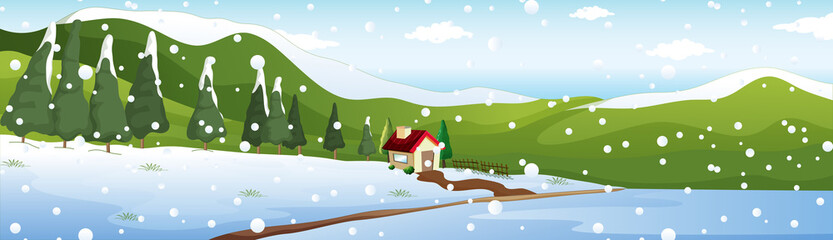 Background scene with house in winter