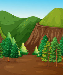 Background scene with forest and mountains