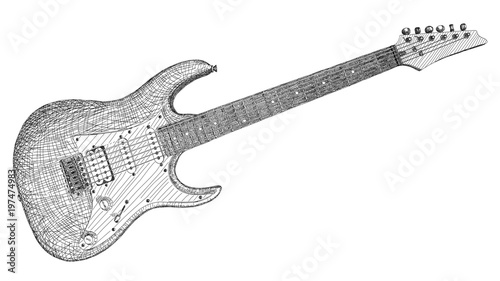 Vector Illustration Drawing Of Electric Guitar Stock Image And