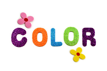 Colored inscription Color stock images. Colorful lettering on a white background. Decorative multi-colored inscription