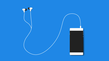 Modern Flat NoName Smartphone With Headphones Isolated On Blue Background