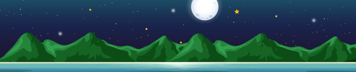 Background scene with mountains at night