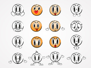 Different emoji vector icons for design. Doodle cartoon face in childlike manga cartoon style. Set of cute lovely kawaii emoticon