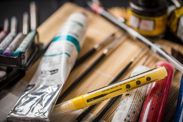 art utensils and paint