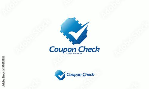 coupon check logo designs concept vector ticket check logo template