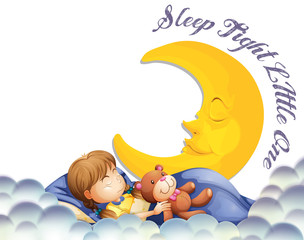 Girl sleeping with teddybear