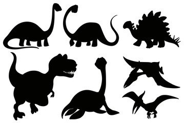 Silhouette dinosaurs on white background