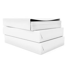 stack of printer paper, packs on white background 3d illustration