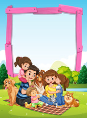 Border template with family having picnic in park