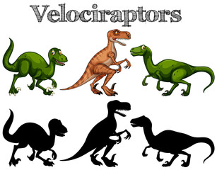 Velociraptors and silhouettes on white background