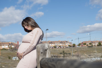 Pregnant woman posing shortly before giving birth