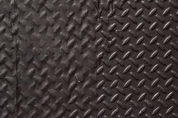 Black diamond plate closeup abstract texture background.