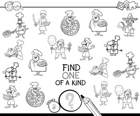 one of a kind game with chefs coloring page