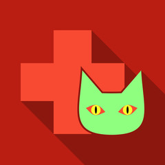 Web line icon. Veterinary medicine icon cat and cross.