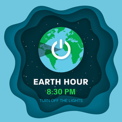 Earth hour. Flat Earth planet in Space. Starry sky background with 3d effect. Earth globe with on/off light switch icon or power button. Paper and craft style. Vector Illustration.