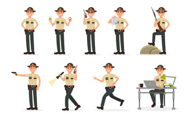 Town male sheriff police officer character in official uniform, policeman executing civil judgment vector Illustration on a white background