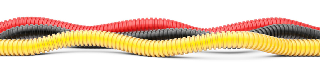 Colored corrugated pipe for installation of electrical cable. Plastic curvilinear hoses.