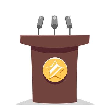 Hustings tribune rostrum politician performance cartoon design vector illustration