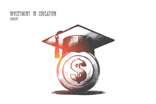 Investment in education concept. Hand drawn graduation hat with on money. Saving for higher education isolated vector illustration.