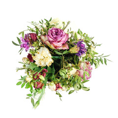 Composition of dried flowers in a pink hatbox. Tied with wide white ribbon and bow