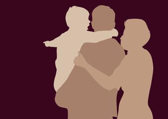 famille - parent - enfant - silhouette - bonheur -amour - ensemble - heureux - présentation - symbole