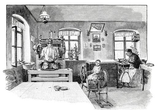 Im Produktionsraum einer Handschuh-Herstellung