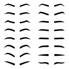 Set of designes of eyebrows, vector illustration