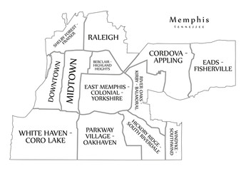 Modern City Map - Memphis Tennessee city of the USA with neighborhoods and titles outline map