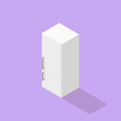 Low poly isometric fridge. Realistic icon. Isolated illustration of kitchen appliance
