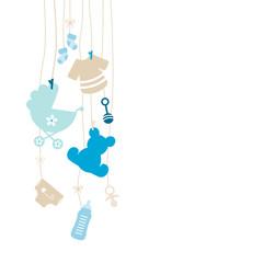 Left Hanging Symbols Boy Beige Baby Card