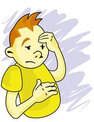 caricatura de adolescente enojado