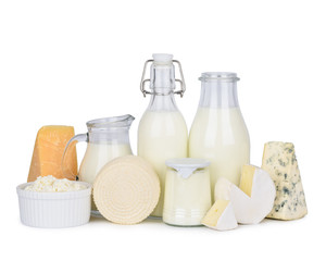 Foto op Canvas Zuivelproducten Dairy products set isolated on white background