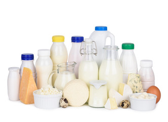 Stores photo Produit laitier Assortment of various dairy products cheese milk and eggs isolated on white background