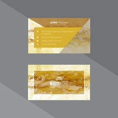 Marble texture brown and mustard business card