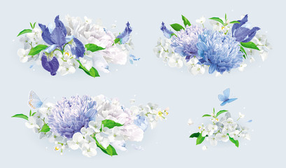 White and blue summer flowers bouquet set
