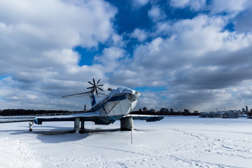 Old seaplane on Moscow river in cold winter day
