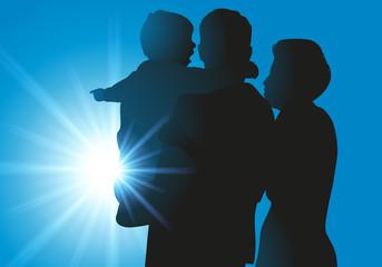 famille - parent - enfant - silhouette - bonheur - amour - ensemble - heureux - symbole