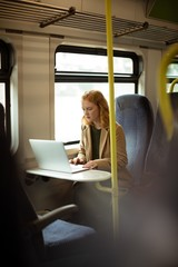 Red hair young woman using her laptop