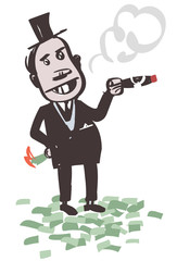 Crazy Banker. Smokes Big Cigar. Vector Illustration