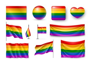 LGBT flag set realistic. Collection of rainbow symbols of sexual minorities. Vector illustration