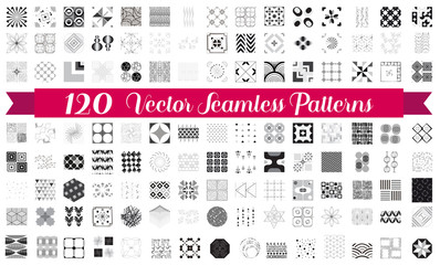 120 Seamless patterns. Vector bundle for background, fabrics, surface textures, wallpaper, pattern fills, web and blog backgrounds, scrapbook. Set of monochrome geometric endless textures.