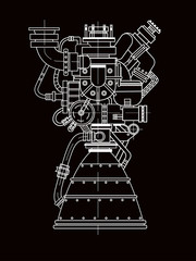 Rocket engine design. It can be used as an illustration for the high-tech, engineering development and research.