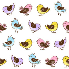 Seamless pattern with cute little birds