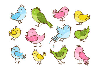 Set of 12 cute birds isolated on white